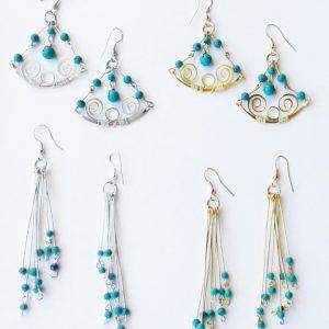 Boucles d'Oreilles en métal vieilli Argentées ou Dorées et des perles Turquoises-0