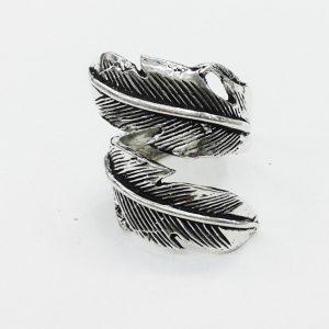 Bague plume Ethnic en métal argent-0