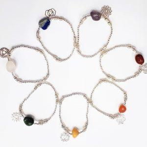 sept Bracelets CHAKRA et sa pierre semi-precieuse sur chaine en métal plaqué argent-0