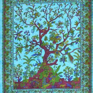 Tenture ARBRE de VIE tie&dye turquoise 1,40x2.20m-0