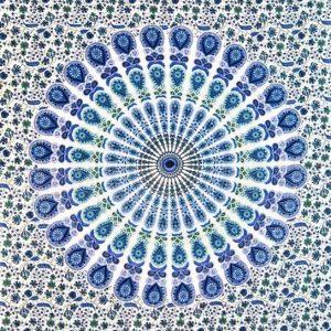 Tenture MANDALA BARMERI bleue fond blanc 1.40x2.20m-0