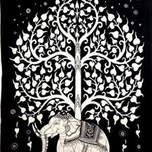 Tenture ELEPHANT blanche et noire 1.40x2.20m-0