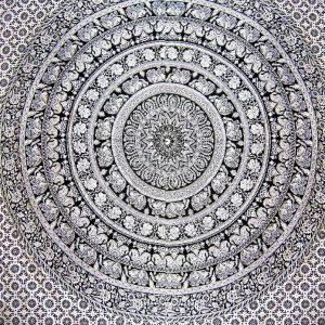 Tenture MANDALA noir et blanc 2,40x2.20m-0