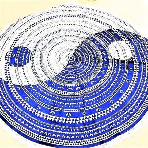 Tenture ronde YINGYANG bleue indigo 2m-0