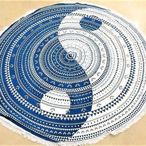 Tenture ronde YINGYANG bleu 2m-0