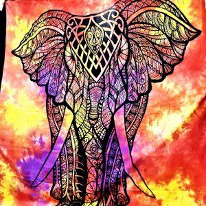 Tenture ELEPHANT tie&dye jaune 1.40x2.20m-0