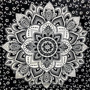Tenture MANDALA LOTUS noir et blanc 1,40x2.20m-0