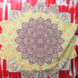 Tenture MANDALA LOTUS rouge 2.40x2.20m-0