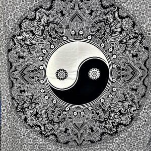 Tenture MANDALA YINGYANG noir et blanc 1,40x2.20m-0