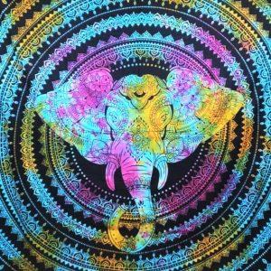 Tenture ELEPHANT tie&dye arc en ciel 1.40x2.20m-0