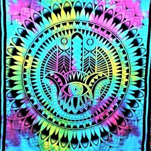 Tenture MAIN FATIMA tie&dye arc en ciel 1.40x2.20m-0