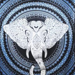 Tenture TETE d'ELEPHANT bleue 2,40x2.20m-0