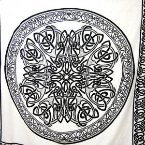 Tenture MANDALA CELTIC en noire & blanc 2.40x2.20m-0
